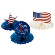 Patriotic Party Decoration - 3-Piece 4th of July Honeycomb Decoration Centerpiece, American Flag Party Supplies, 12 x 12 x 9.25 Inches