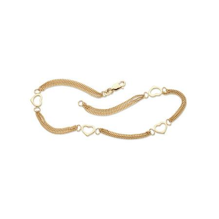 "Open Heart Station Triple-Strand Ankle Bracelet in 14k Yellow Gold over Sterling Silver 10"""