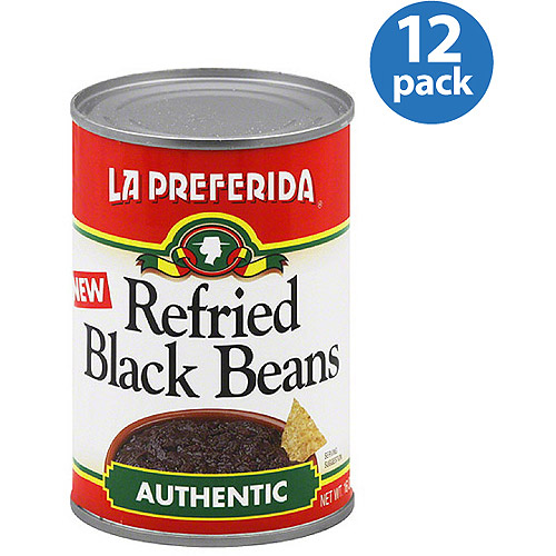 La Preferida Authentic Refried Black Beans, 16 oz, (Pack of 12)
