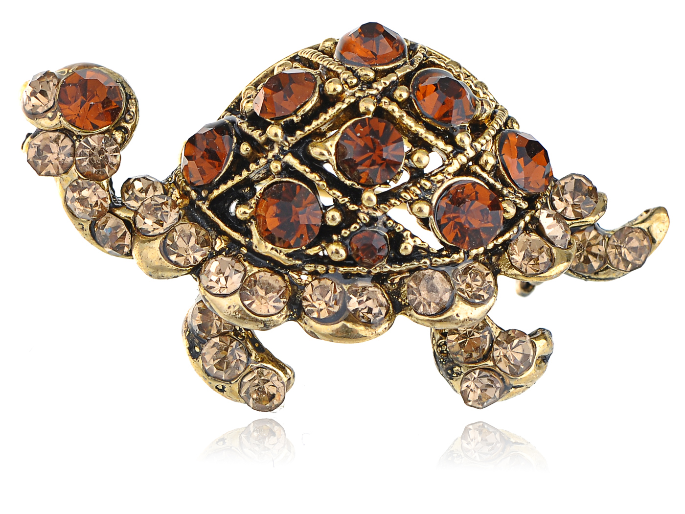 Golden Tone Topaz Brown Crystal Rhinestone Turtle Tortoise Reptile Pin Brooch by
