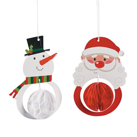 Fun Express - Santa & Snowman Tissue Ornament for Christmas - Party Decor - Hanging Decor - Misc Hanging Decor - Christmas - 12 - Fun Christmas Ornaments