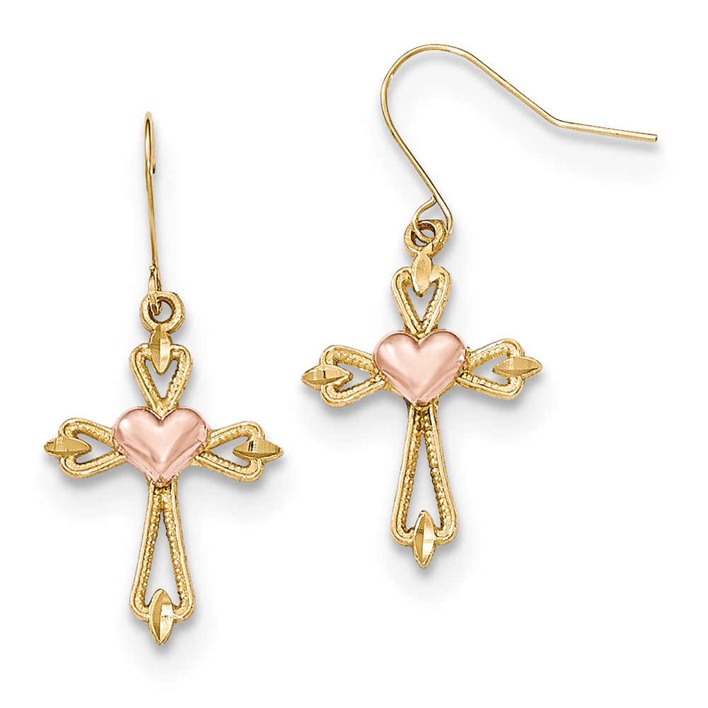 Lex & Lu 10k Two-tone Gold D/C Textured Heart Cross Dangle Earrings