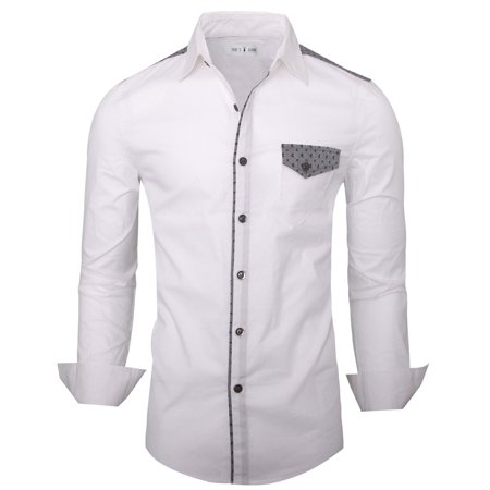 TAM WARE Mens Stlyish Slim Fit Two-toned Longsleeve Button Down Shirt