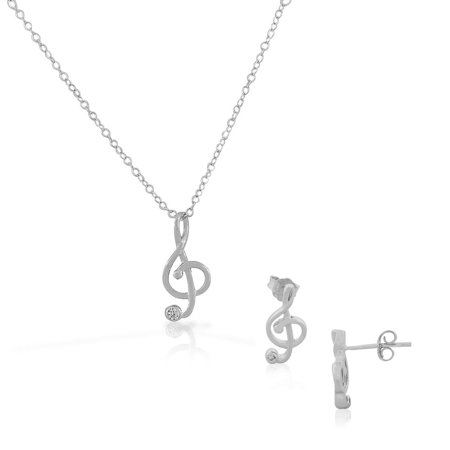 925 Sterling Silver Clear White CZ Music Musical Clef Stud Earrings Pendant Necklace Set 925 Silver Earrings Pendant