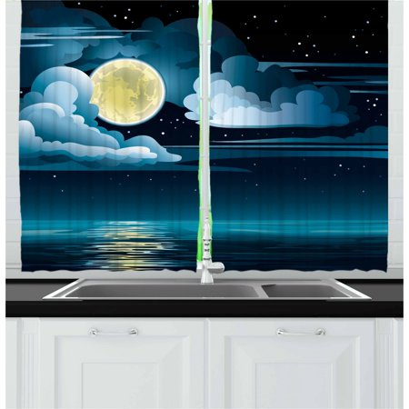 Night Curtains 2 Panels Set, Clouds Full Moon and Stars Over the Sea Romantic Fantasy Graphic Print, Window Drapes for Living Room Bedroom, 55W X 39L Inches, Black Pale Blue Eggshell, by
