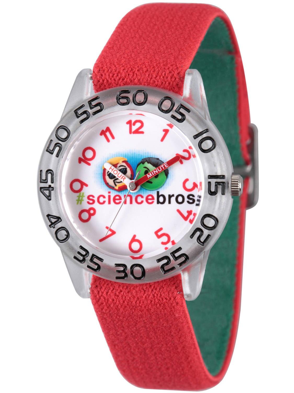 Emoji Kids' Iron Man and Hulk Clear Plastic Time Teacher Watch, Reversible Red and Green Elastic Nylon Strap