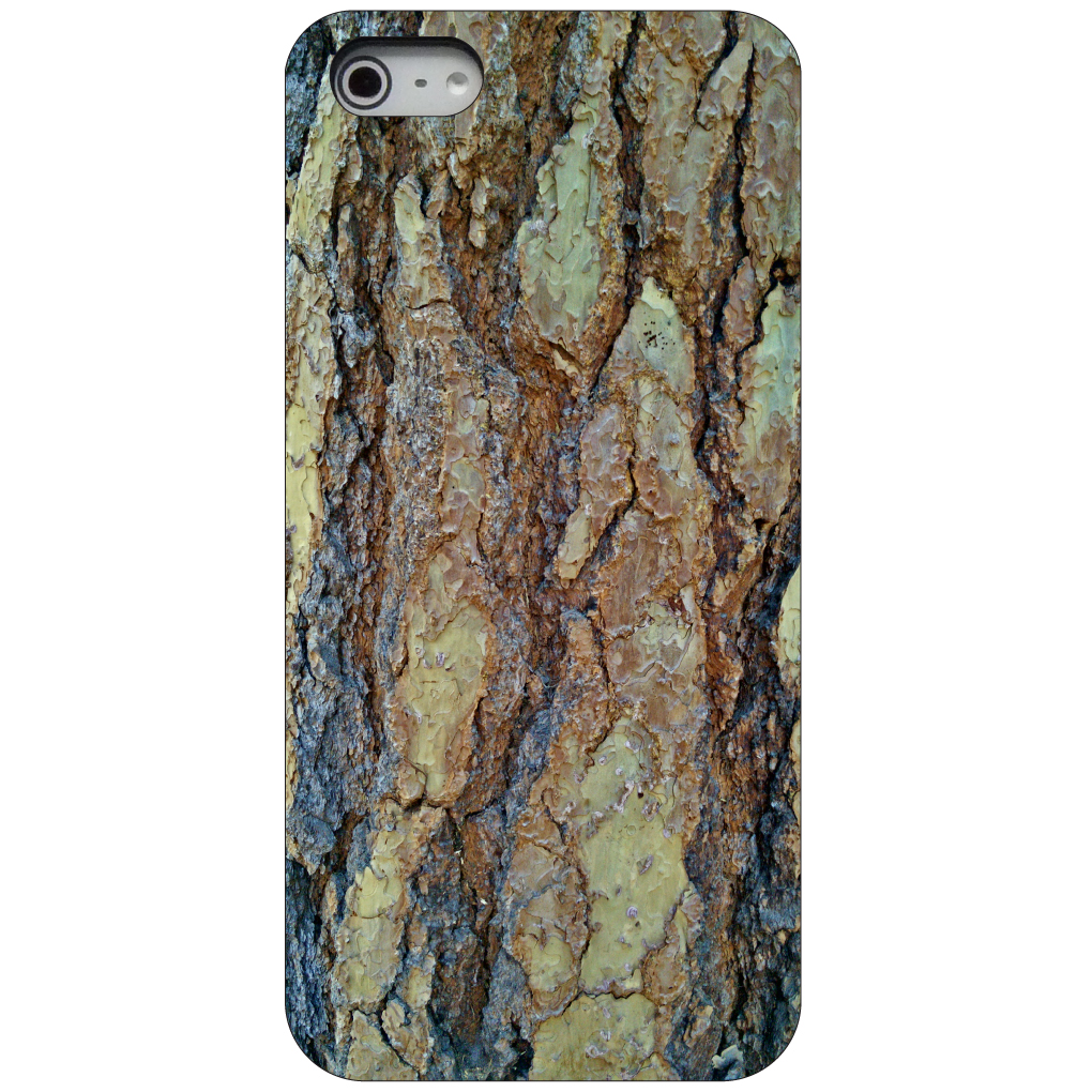 CUSTOM Black Hard Plastic Snap-On Case for Apple iPhone 5 / 5S / SE - Yosemite Redwood Bark