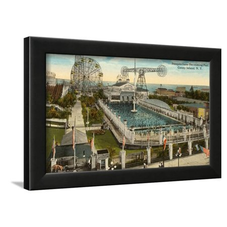 Steeplechase Swimming Pool, Coney Island, New York City Framed Print Wall Art - Pool City Cranberry