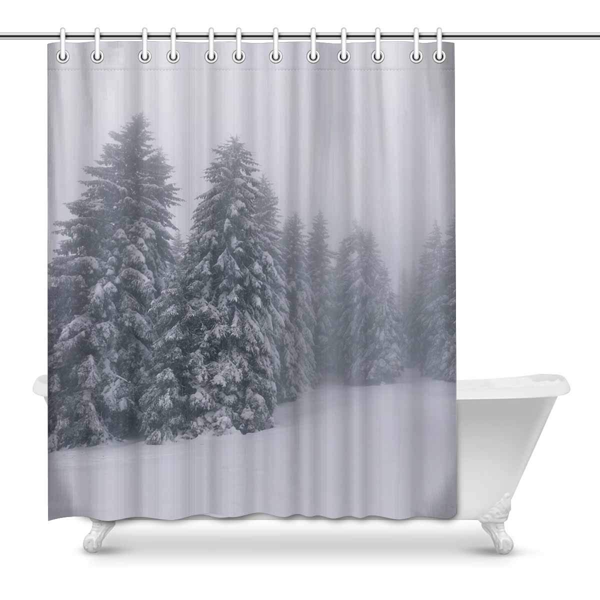 Gckg Vintage Winter Landscape Shower Curtain Froggy Forest Polyester Fabric Shower Curtain Bathroom Sets 60x72 Inches