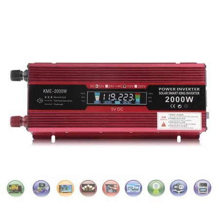 DC 12V To AC 110V 2000W LCD Car Power Inverter Modified