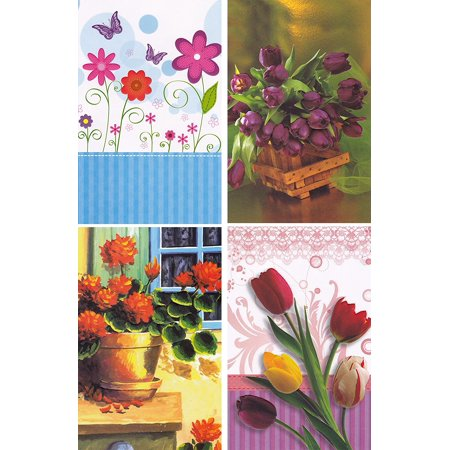 12 Assorted Floral Greeting Cards - Blank Inside (Blank Inside Art Card)