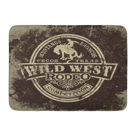 SIDONKU Cowboy Wild West Rodeo Vintage for Boy Wear Effect in Separate Layers Western Doormat Floor Rug Bath Mat 23.6x15.7 inch