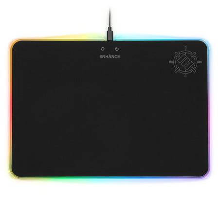 ENHANCE Large LED Gaming Mouse Pad with Fabric Surface - Hard Mouse Mat with 7 RGB Colors & 2 Lighting Effects , Brightness Controls , & Precision Tracking for eSports - Black