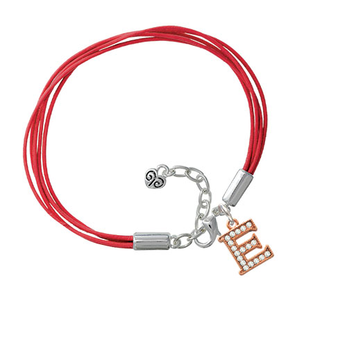 Crystal Rose Gold Tone Initial - E - Red Leather Aruba Bracelet