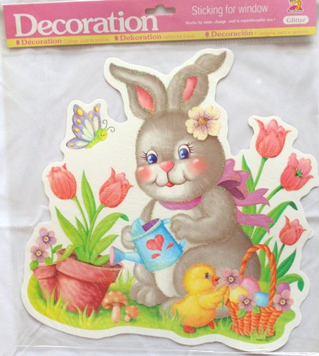 Grey Easter Bunny and Chick Watering Flowers Static Vinyl Glitter Window Cling