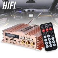 600W 12V 2 Channel Mini Amplifier Portable Aluminum Support USB/SD/MMC/FM Radio for Car Motorcycle MP3 MP4 Computer + Remote Control