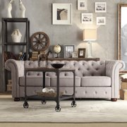 Chelsea Lane Glamorous Tufted Sofa, Gray Linen