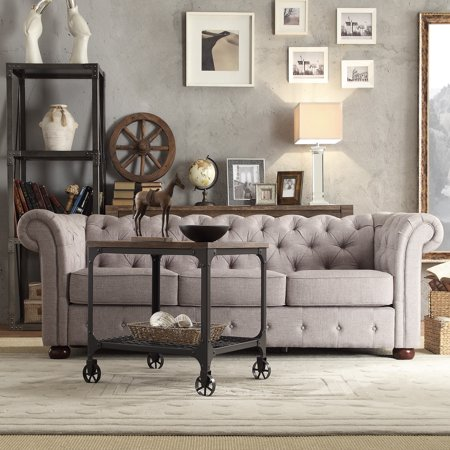 - Chelsea Lane Glamorous Tufted Sofa, Gray Linen
