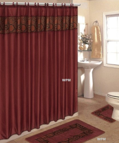 4 Piece Bath Rug Set Rust Flocking Bathroom Rugs With Fabric Shower Curtain  And Matching Rings