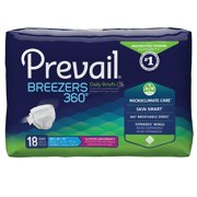 Prevail Breezers 360 Adult Winged Brief, Maximum Absorbency, Size 2, 45 - 62 Inches, 18 Count, 4 Pack