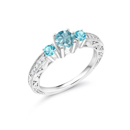 1.28 Ct Round Blue Zircon Swiss Blue Topaz 925 Sterling Silver - Sterling Silver Zircon Gemstone