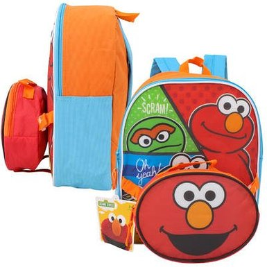 "Small Backpack - Sesame Street - Elmo w/Lunch Bag 12"" School New 68363"