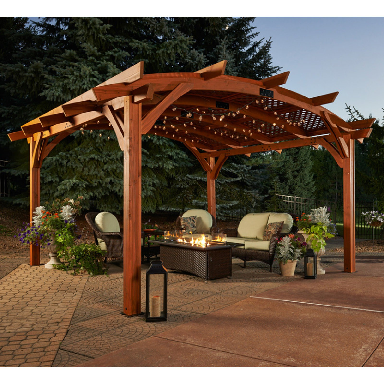 Sonoma 12 x 16 ft. Arched Wood Pergola Redwood by Outdoor Greatroom Company