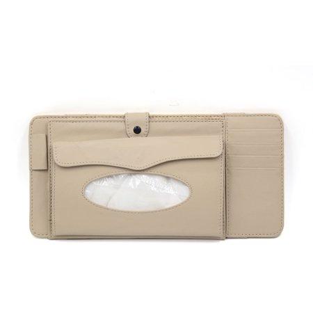 Beige PU Leather Car Sun Visor Multifunctional Double-deck CD Holder Tissue Box (Nova Replacement Visor)