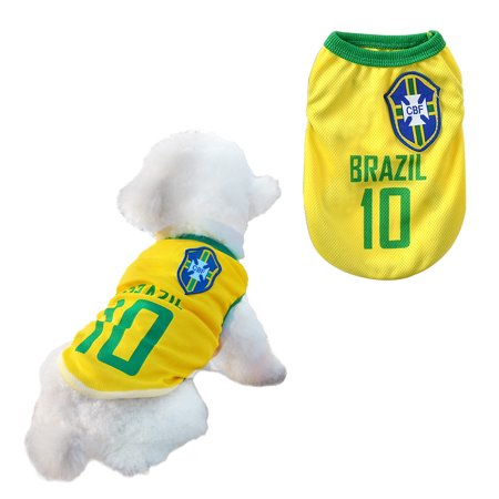 Dog Clothes Football T-shirt Dogs Costume National Soccer 2018 World Cup  FIFA Jersey for Pet Brazil - Walmart.com b9ee94f09