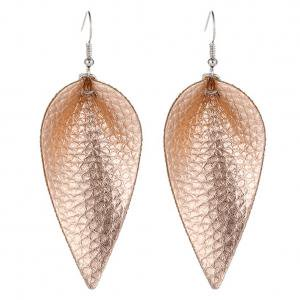 Fancyleo Handmade Leather Earrings Boho Leaf Teardrop Hook Dangle Pendant Ear Stud Women Jewelry