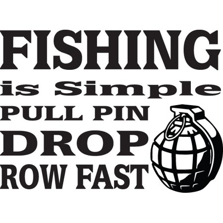 Custom Wall Decal Fishing Is Simple Pull Pin Drop Row Fast Picture Art Kids Boys BedRoom Sticker - Vinyl Wall Decal 14 X 28 Inches (Fishing Wall Decals)