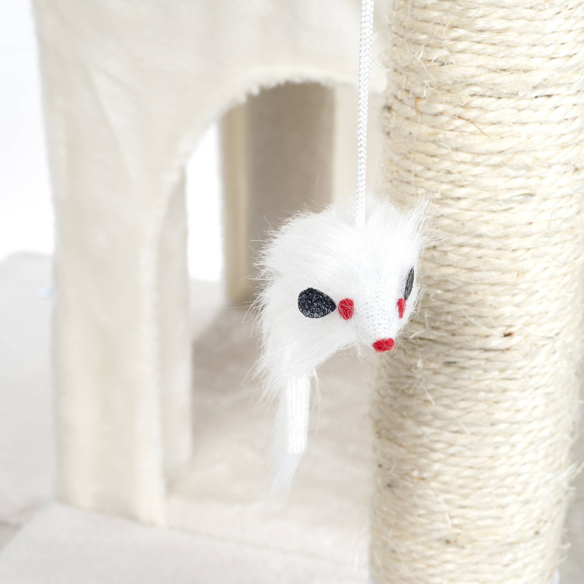 penthouse sleep and play cat tree by petmaker 4 ft tall white image 3