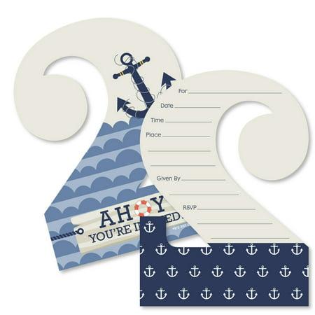 Nautical Birthday Invitations (2nd Birthday Ahoy - Nautical - Shaped Fill-In Invitations - Second Birthday Party Invitation Cards with)
