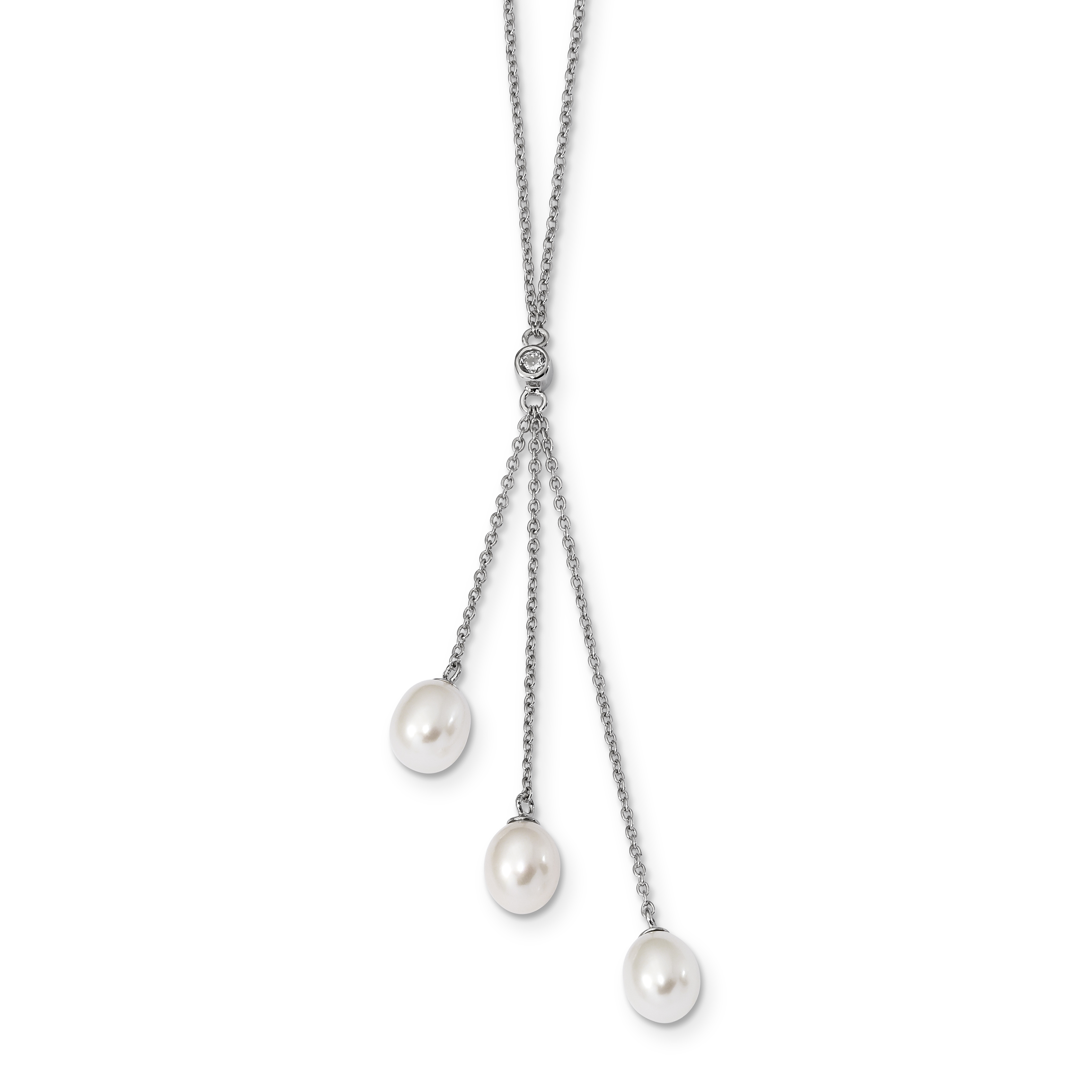 Sterling Silver RH 7-8mm White Rice FWC Pearl CZ Necklace 18 Inch - image 2 de 2
