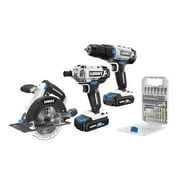 HART 20-Volt 3-Tool Combo Kit with 50-Piece Accessory Kit (2) 20-Volt 1.5Ah Lithium-Ion Batteries