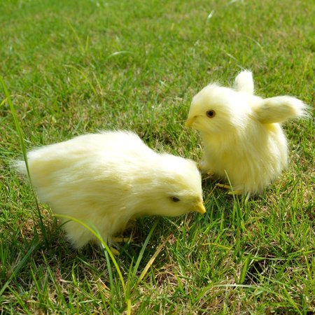 2 pcs Spring Easter Chick Decor Realistic Lifelike Yellow Baby Chick Plush Furry Animal Spring Decor Figurine Chicken Rabbit Fur Plush Animal Toy Easter Holiday Decoration (Eating + (Best Rabbits For Fur)