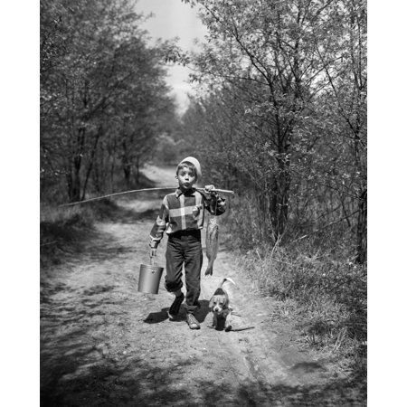 1950s Boy With Beagle Puppy Walking Down Country Road Whistling Carrying Fishing Pole Pail And Fish Print By Vintage