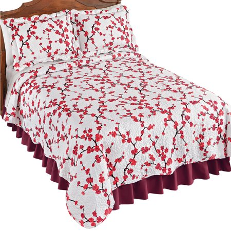 Allison Red Cherry Blossom Textured Quilt with White Background - Spring Bedding Accent, Full/Queen, Red