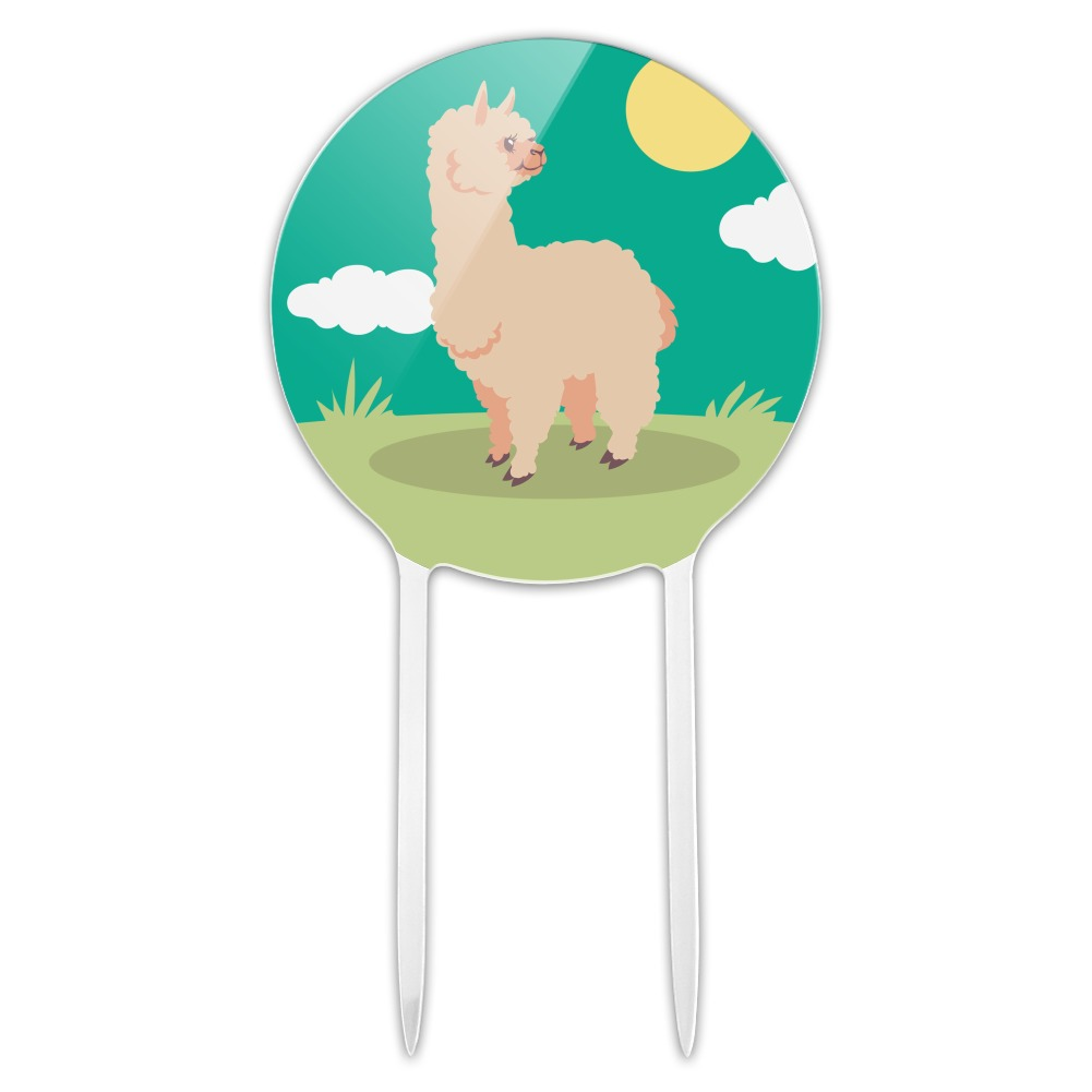 Acrylic Cute and Fluffy Alpaca Cake Topper Party ...