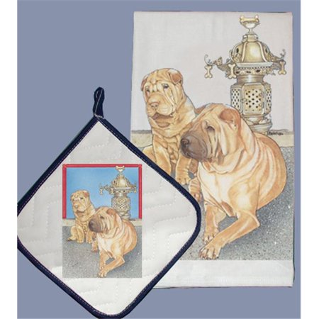 Pipsqueak Productions DP937 Dish Towel and Pot Holder Set - Shar-Pei