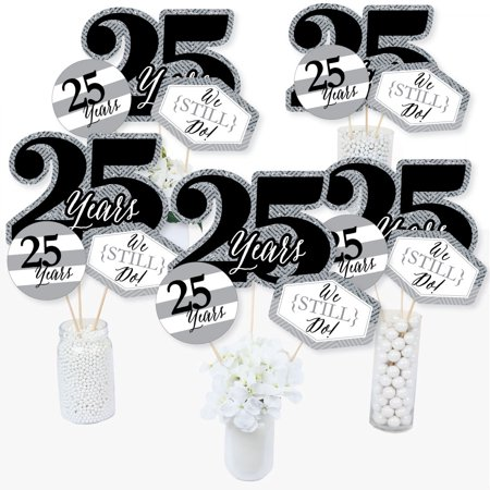 We Still Do - 25th Wedding Anniversary - Anniversary Party Centerpiece Sticks - Table Toppers - Set of 15 - 25th Wedding Anniversary Centerpieces