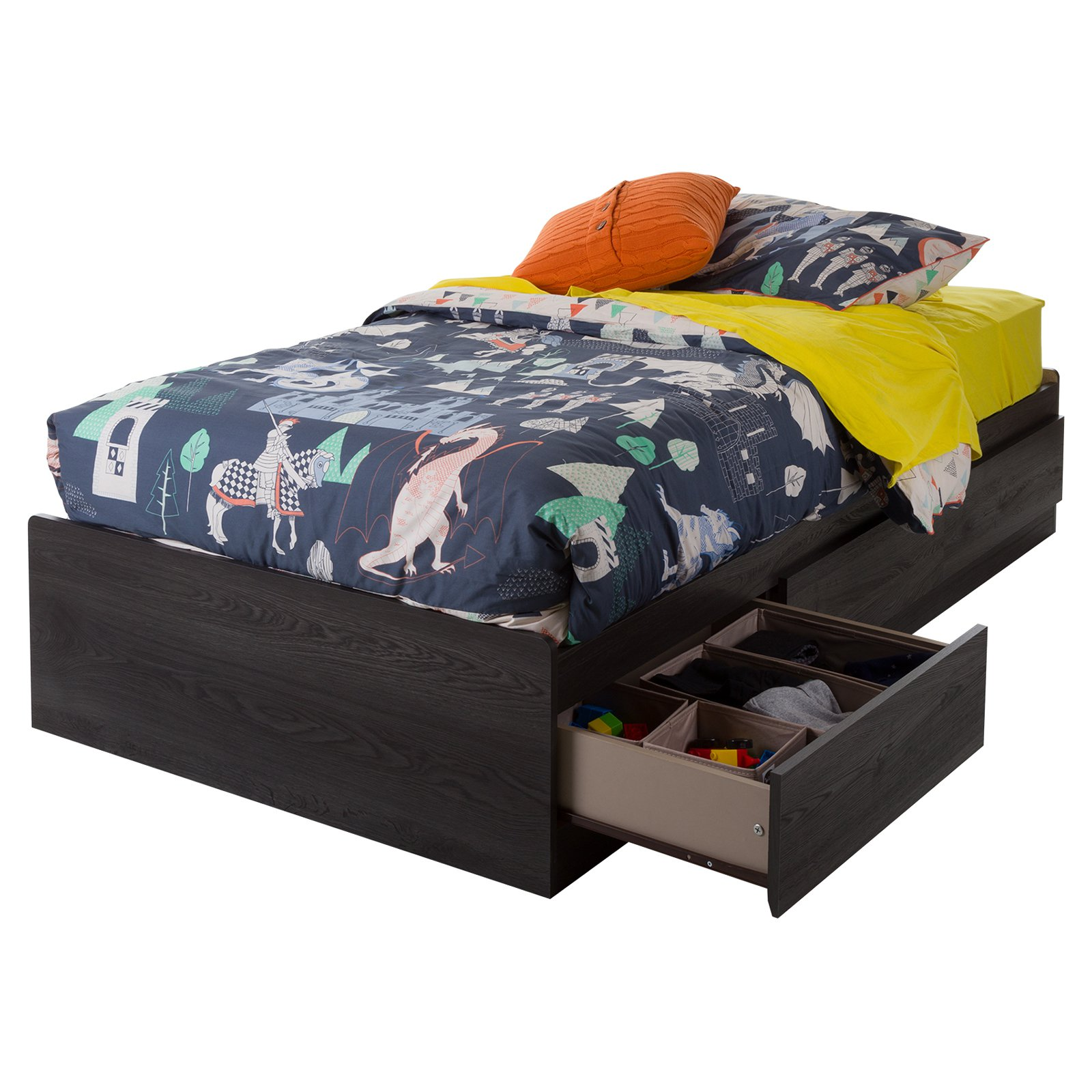 South Shore Basics Twin Storage Bed with 3 Drawers, Multiple Finishes by South Shore