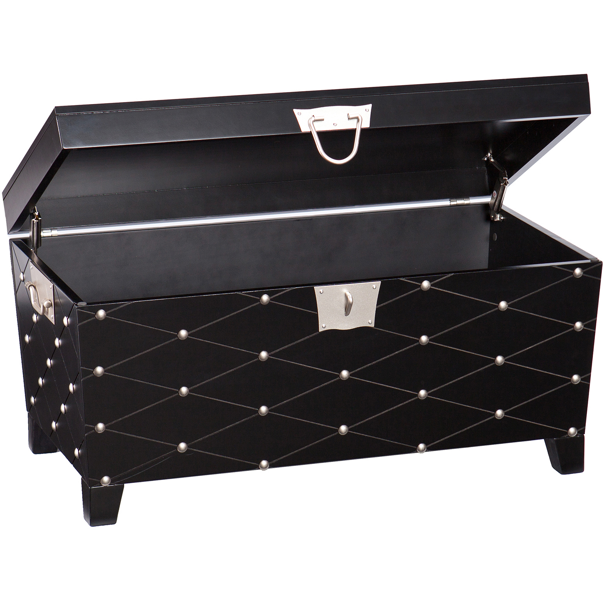 Longwood nailhead cocktail table trunk blacksatin silver longwood nailhead cocktail table trunk blacksatin silver walmart geotapseo Images