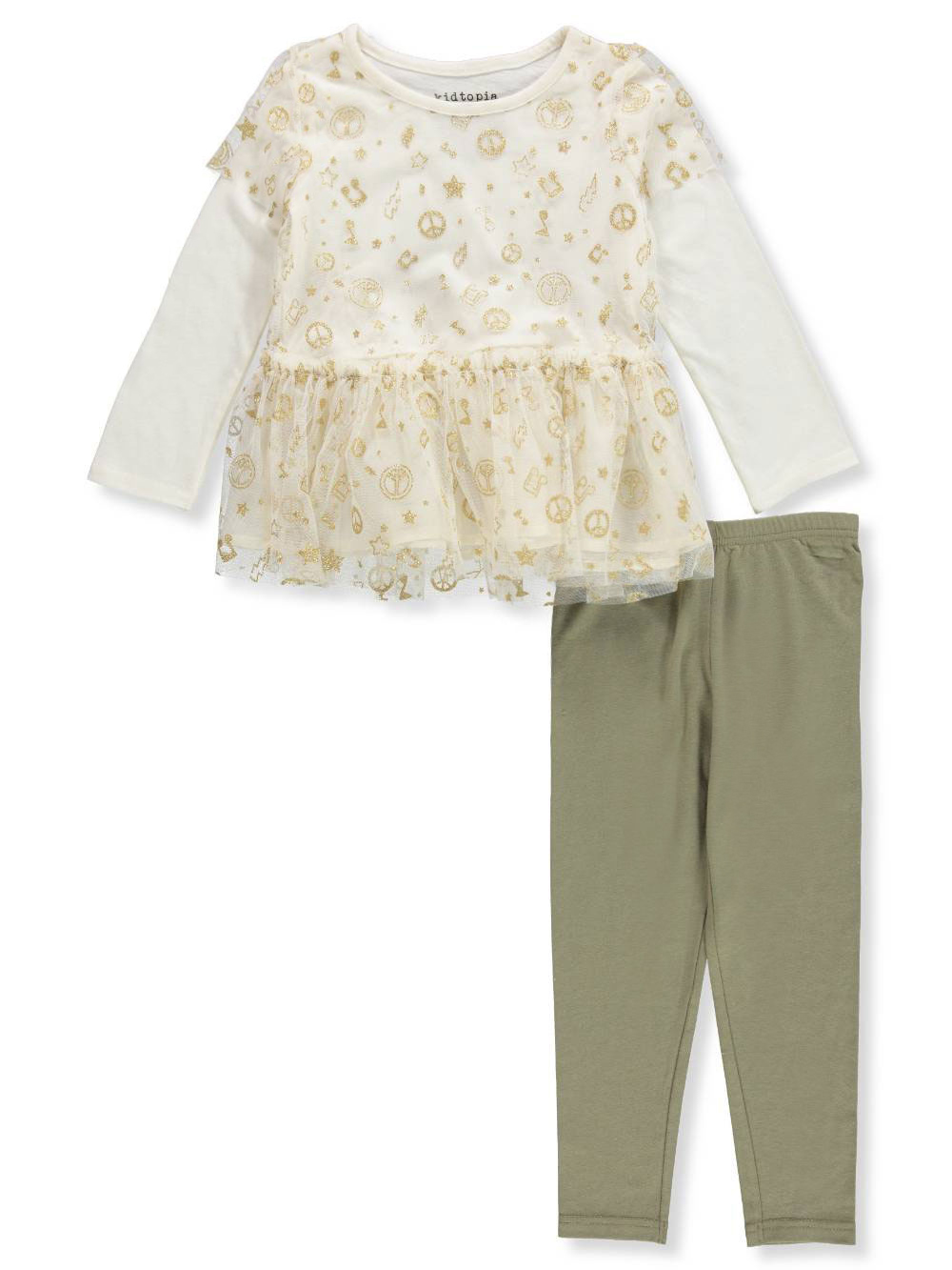 Glitter Mesh 2Fer Tunic & Legging, 2-Piece Outfit Set (Little Girls)