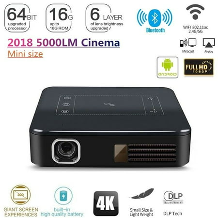 Kingslim 4K HD 1080P Mini Projector Portable 5000 Lumens 2G 16G DLP Home Theater/Cinema Movie Projectors Android 7.1 2G 16G Digital Multimedia Gaming