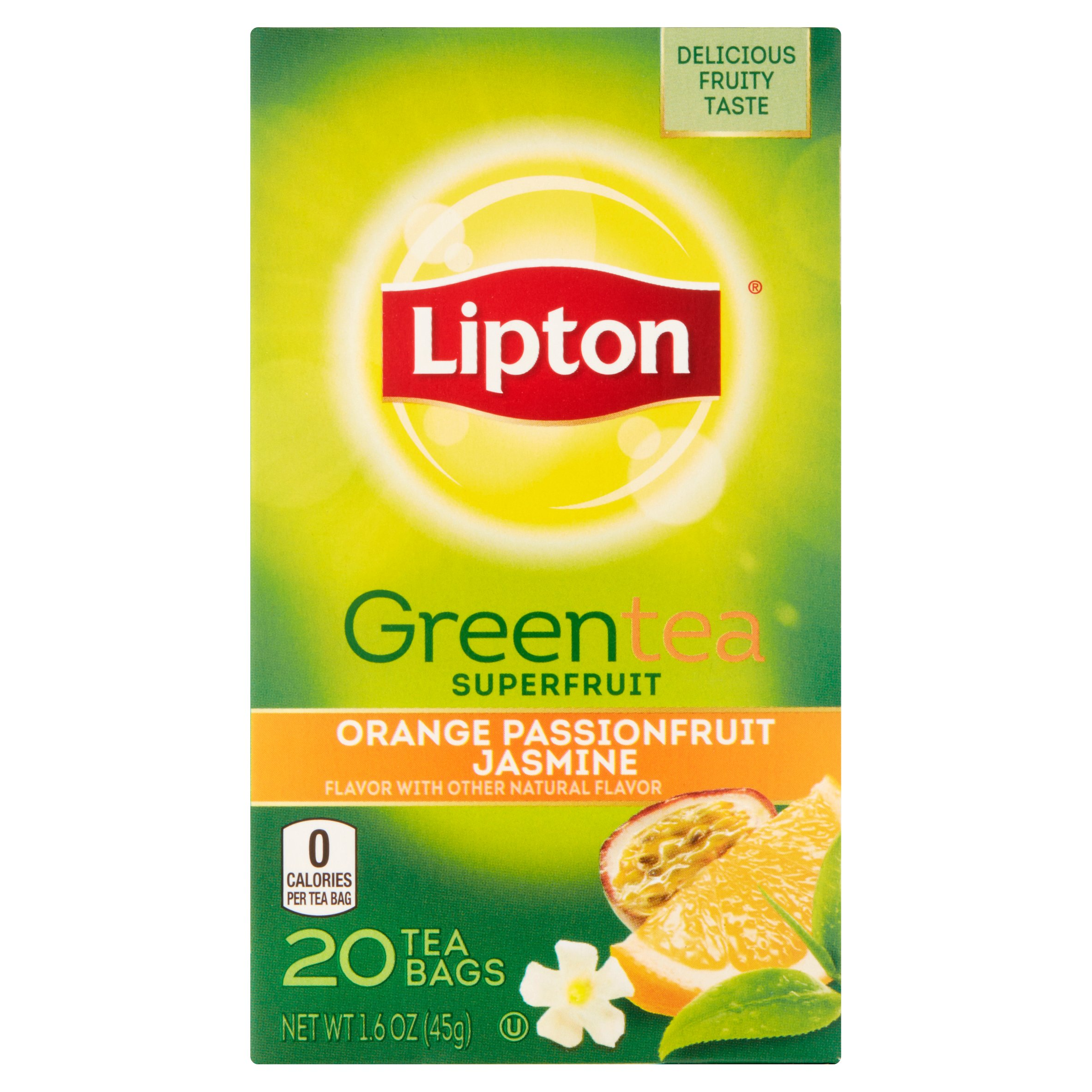 (4 Boxes) Lipton Green Tea Bags Orange Passionfruit Jasmine 20 ct