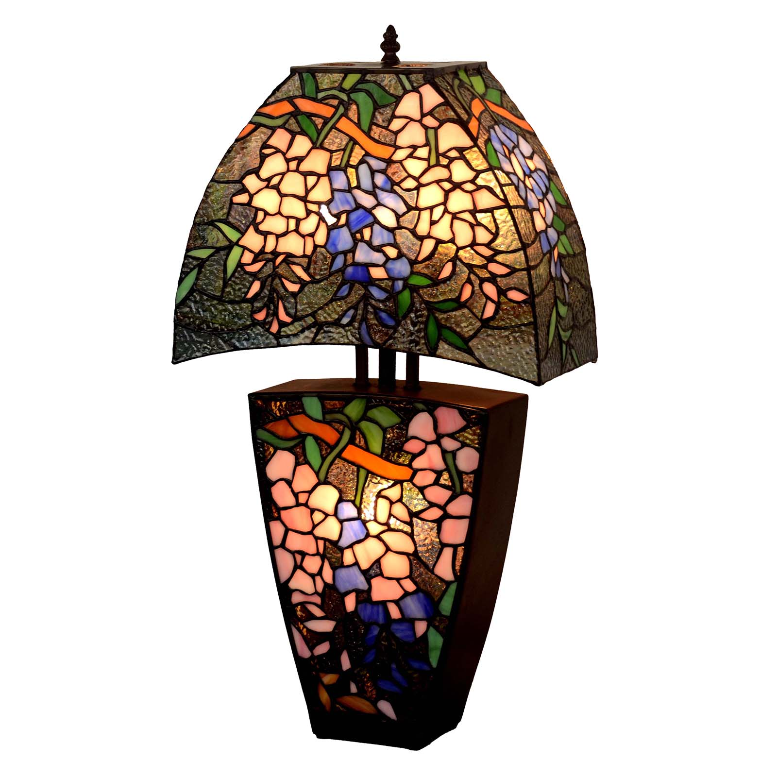 Bieye L10532 18 Inches Wisteria Tiffany Style Stained Glass Table