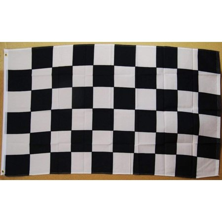 Deluxe Quality Polyester (Black And White Checkered Flag 3' X 5' Deluxe Indoor Outdoor Banner, A quality flag made of super polyester with two brass grommets on inner flyside for easy.., By Nuge,USA )