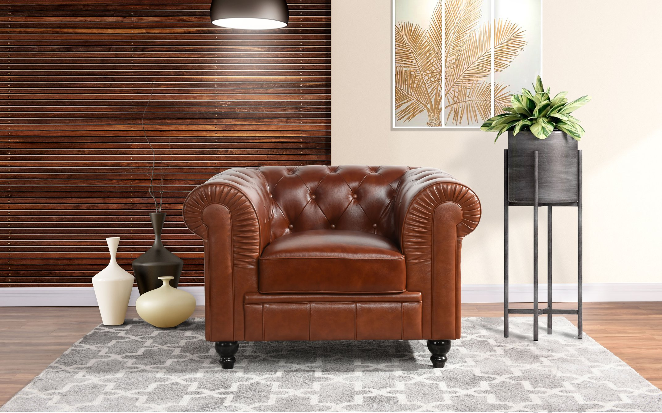 Product Image Classic Chesterfield Scroll Arm Tufted Leather Accent Chair  (Light Brown)