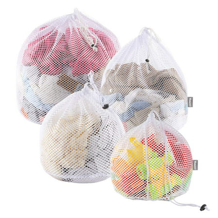 Yoassi 4 Sizes Drawstring Laundry Bags for Washing Machine, Upgrade Three Layer Mesh Laundry Net Washing Bags for Travel, Delicates, Baby Cloths, Net Mesh Bags for Laundry, Toy